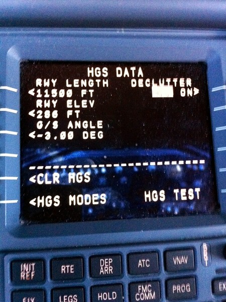 The Flight Management System data-links in the runway data so the HUD target the touchdown accurately.