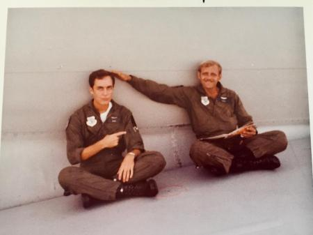 Me and Widetrack, waiting on the wing of our jet.